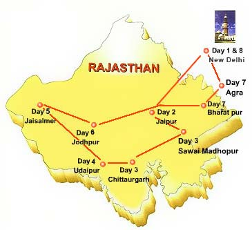Route Map of Palace on Wheels